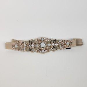 NWT Express Cream Rhinestone Jewel Belt, size M/L